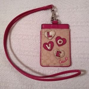🆕 Coach Heart Applique Lanyard ID.   PRICE FIRM!!